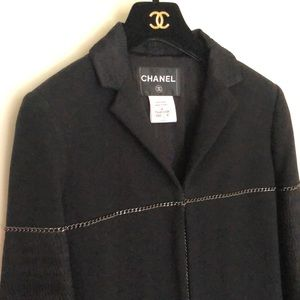 Authentic Chanel black blazer with chain details